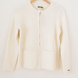 New With Tags boiled wool cardigan. Ivory cream